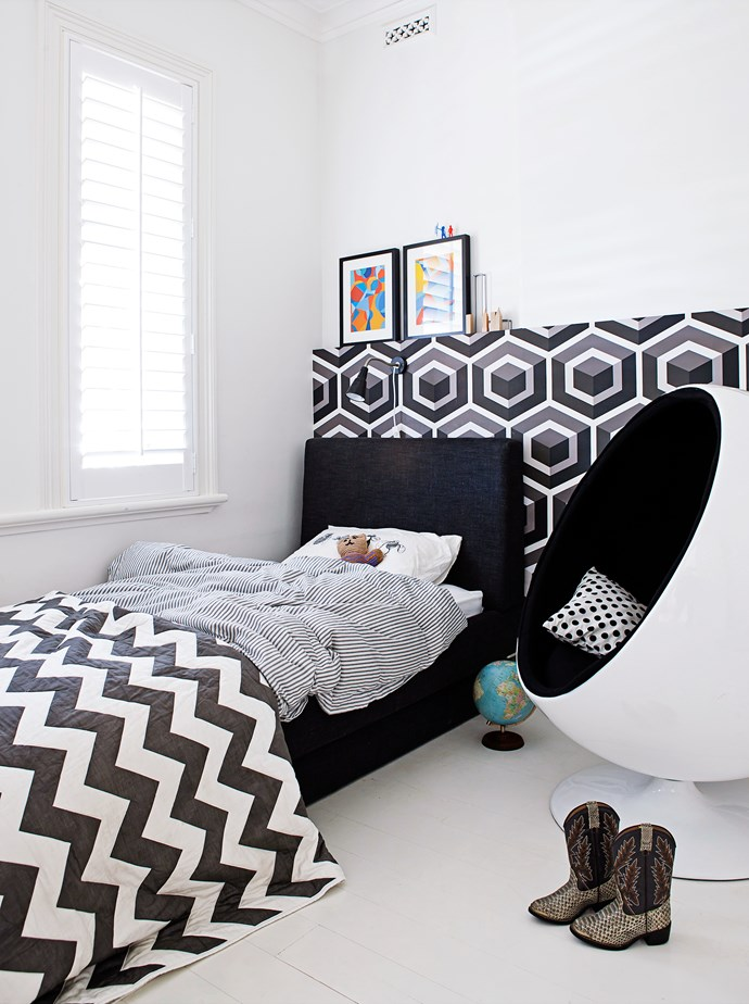 """I felt that my nine-year-old, Levi, could grow into the hexagon wallpaper, but it also has elements and ideas that he has shown interest in so far, such as black and white, and geometric shapes,"" says Kathy."