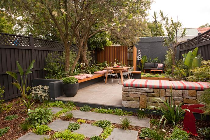 Mandy's favourite features of this backyard are the cantilevered seat (it fits so many people) and the sandstone daybed – it's the perfect spot to sit and catch the sun.