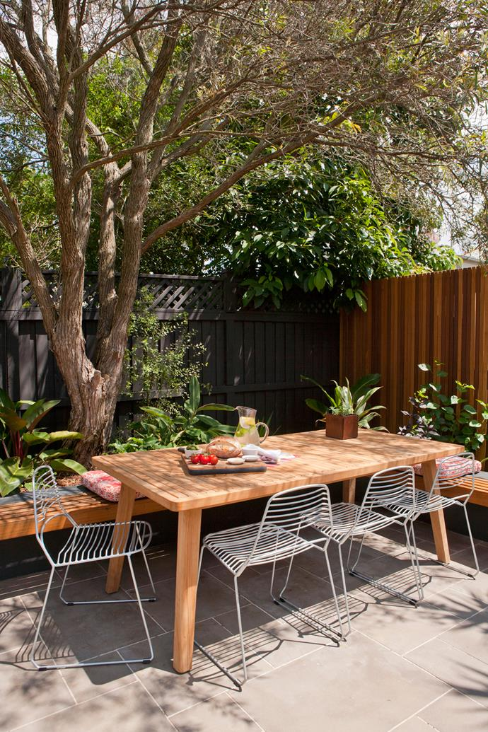 "The space is now ideal for entertaining. ""Whether it's just one friend or a party, Mandy can host guests outdoors for breakfast, lunch or dinner,"" Adam says."