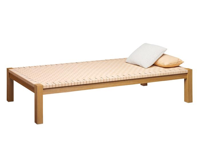 "E15 'FK01 Theban' daybed, from $8425, features a hand-woven surface finished with soft leather that will develop a beautiful patina over time, available at [Living Edge](https://livingedge.com.au/?utm_campaign=supplier/|target=""_blank"")."