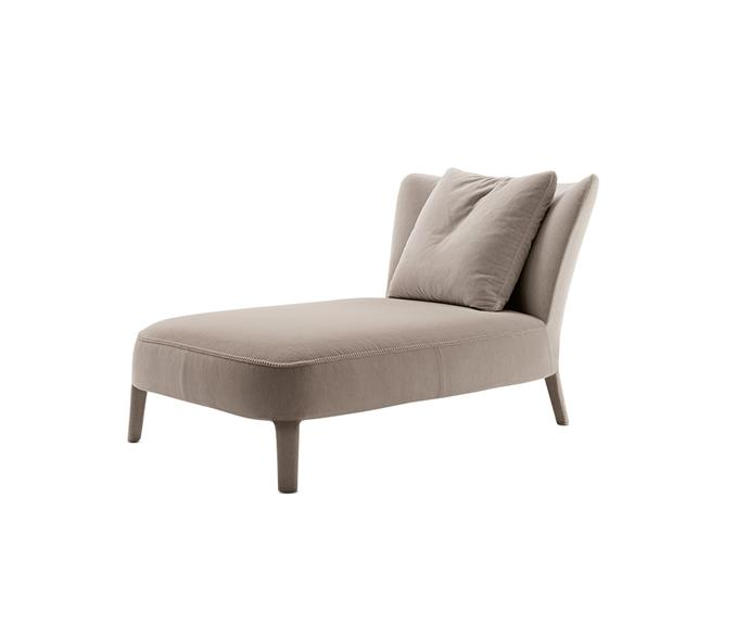 "Antonio Citterio's 'Febo' chaise, $6785, for Maxalto is characterised by its elegant lines, luxurious velvet, and intricate blanket stitching, available at [Space](http://www.spacefurniture.com.au/?utm_campaign=supplier/|target=""_blank"")."