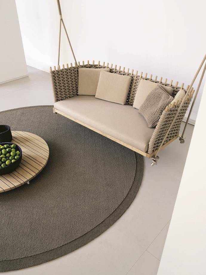 "Paola Lenti's 'Wabi' handwoven outdoor lawn swing, $21,360, encourages you to indulge in the beauty and tranquillity of the natural environment, available at [De De Ce](http://dedece.com/?utm_campaign=supplier/|target=""_blank"")."