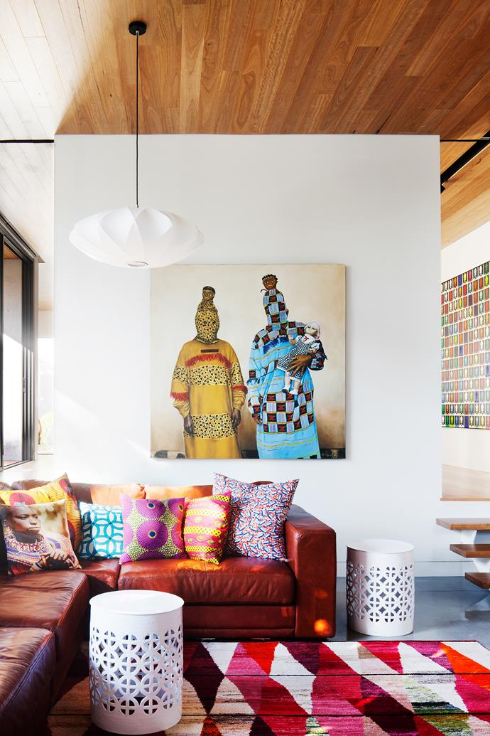"A modernist-style white pendant hangs above the sofa in the family room of this [60s-inspired home](http://www.homestolove.com.au/1960s-modernist-house-gets-a-perky-facelift-3592/?utm_campaign=supplier/|target=""_blank""). Photo: Shannon McGrath."