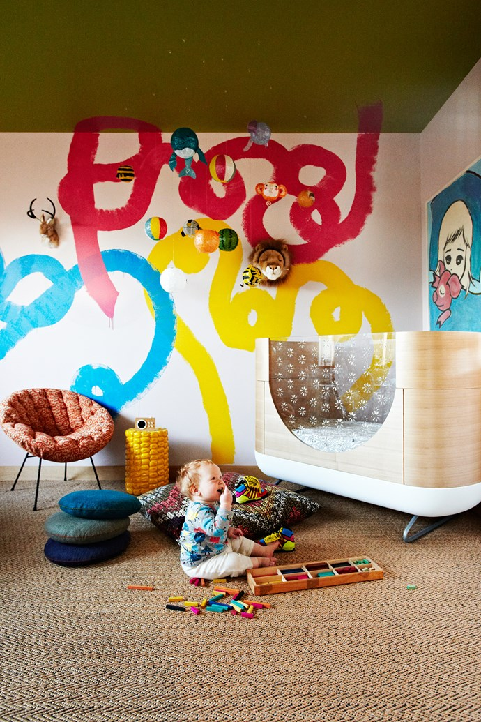 Zig's bedroom is a fun and colourful space with gorgeous fat squiggles painted on the wall by Kate.