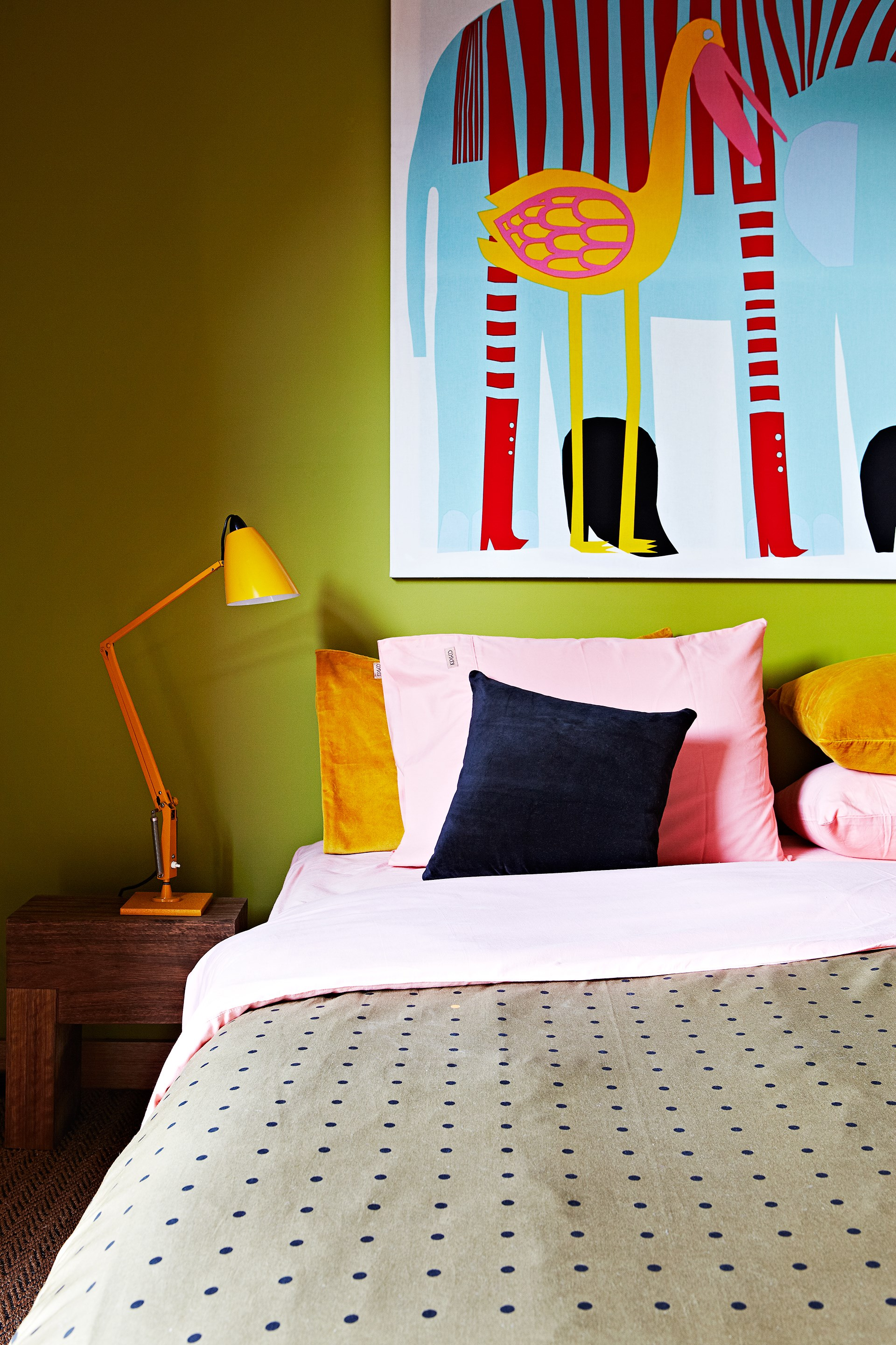 """Baby-pink and moss-green are not two colours you would normally combine but in this [creative beach house](http://www.homestolove.com.au/the-home-of-kip-and-co-co-owner-kate-heppell-3596 target=""""_blank"""") it just works! Photo: Armelle Habib"""