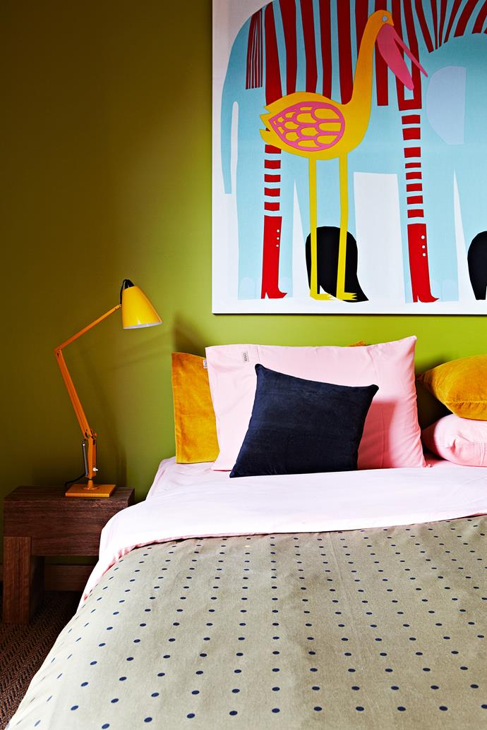 Marimekko fabric is stretch over canvas to form an artwork in the spare room.