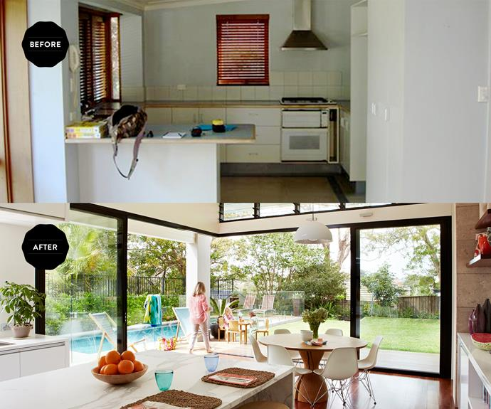 Extensive glazing in the living area ensures the pool and backyard and the new stars of the show.