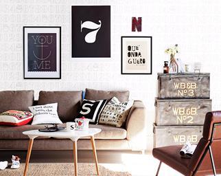 artwork above sofa