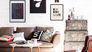 How to hang artwork above a sofa