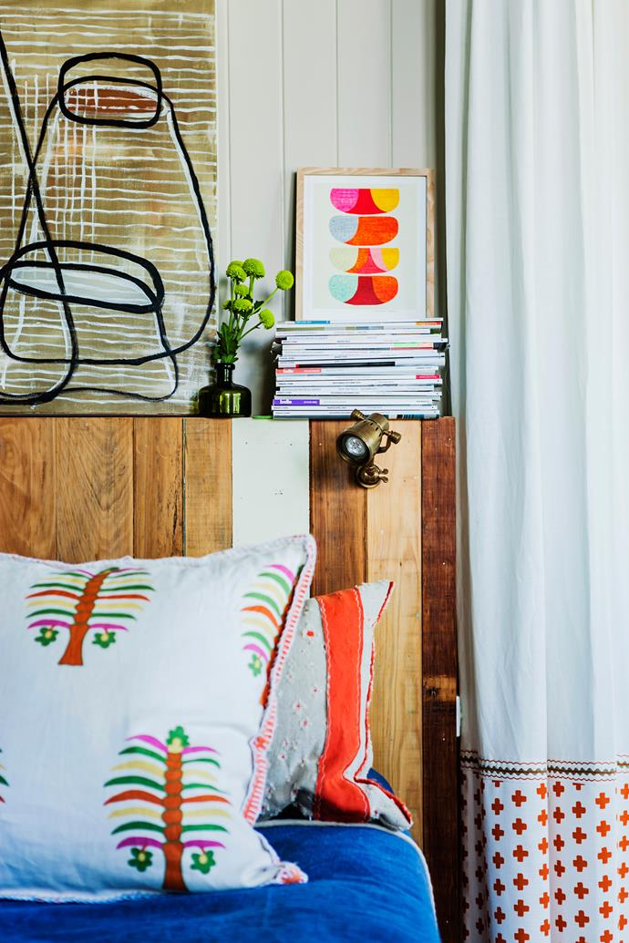 Textiles, artworks and decorative items are used liberally to personalise spaces and express Megan and John's love of quirky design.