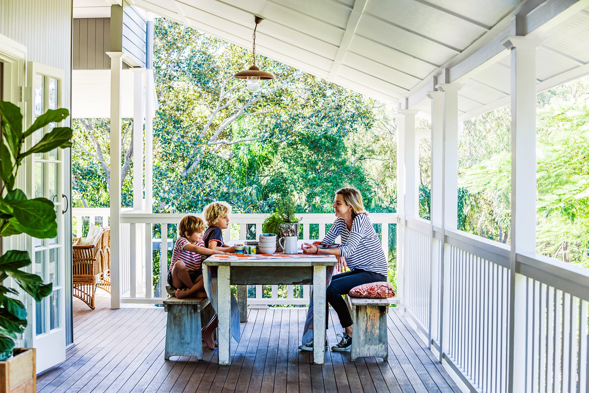The generous veranda of a [renovated 1920s Queenslander](http://www.homestolove.com.au/layers-are-the-key-to-this-revamped-1920s-queenslander-3609) that celebrates pattern, texture and reclaimed style. Photo: Maree Homer