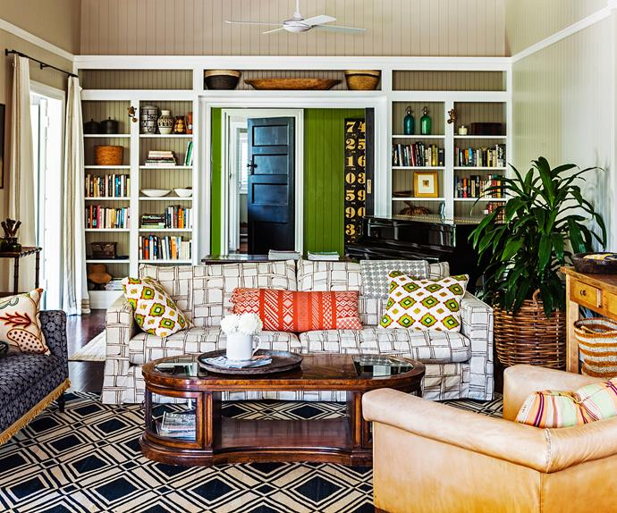 Colourful family living room