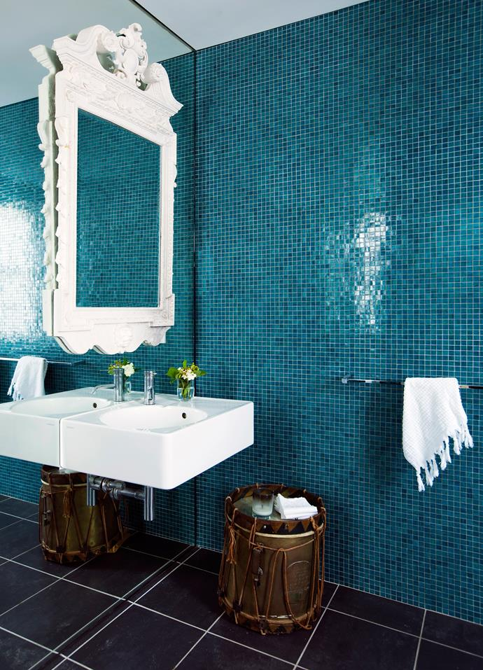 "The white, green and blue theme keeps the ground floor [bathroom](http://www.homestolove.com.au/bathroom-renovation-guide-from-basins-to-bathtubs-2251/|target=""_blank"") bright and beautiful."