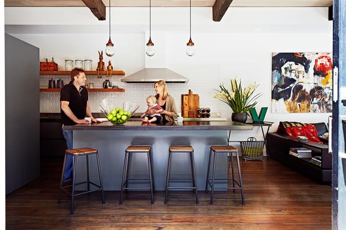 "Rupert and Kate Dowd, with baby Ivy, gather in the [kitchen](http://www.homestolove.com.au/kitchens-with-wow-factor-2229/|target=""_blank""). They have the best of both worlds in their spacious abode in the heart of the city."