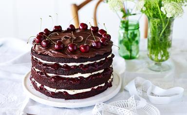 Layered chocolate and sour cherry cake