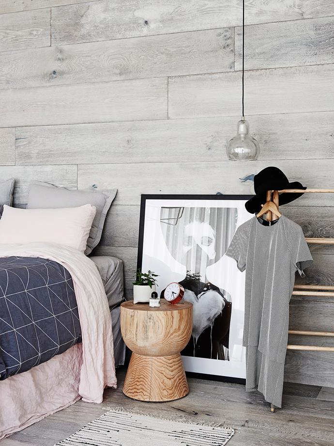 **Lean, don't hang.** Add a laissez-faire, modern vibe to your room simply by skipping a DIY step. Instead of hanging large, frame prints, lean them against the wall to provide a stylish backdrop to your bedside table. Renters rejoice, this is an especially good tip for you. Photo: Eve Wilson / Bauersyndication.com.au.