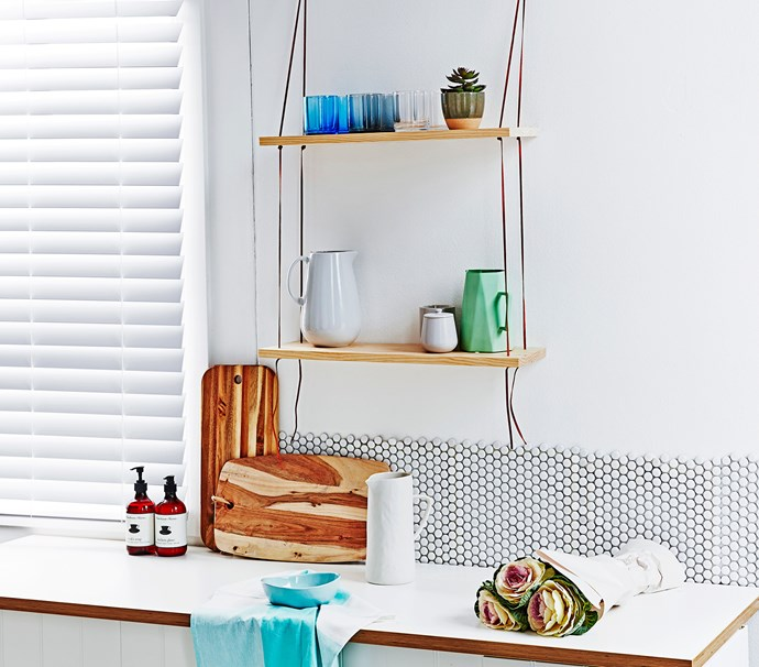 "Penny round mosaic tiles in White, $45 a sq m, from [Tile Stone Paver](http://www.tilestonepaver.com.au|target=""_blank""). Acacia wood chopping boards, from $29.95 each, from [Hard To Find](https://www.hardtofind.com.au