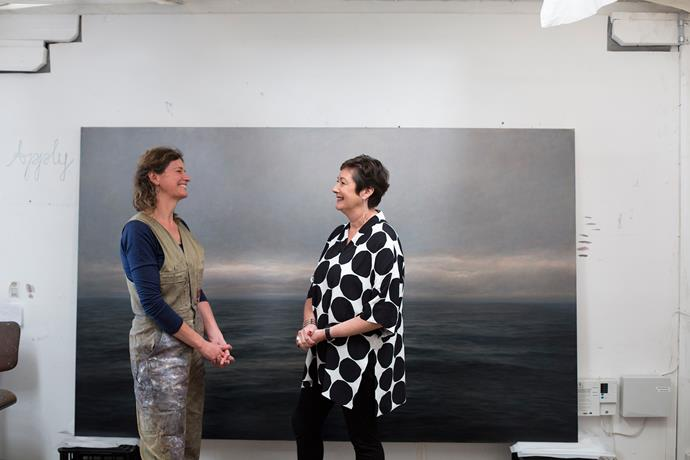Allanah with seascape painter Michaye Boulter.