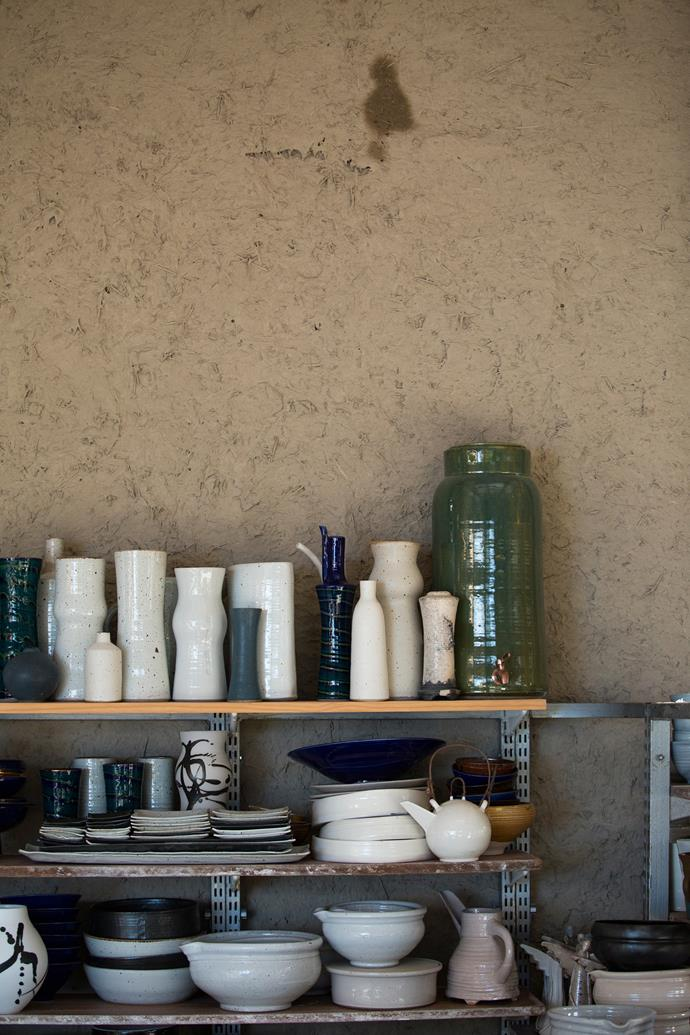 Some of Nanna's ceramics stacked in her mudbrick studio.