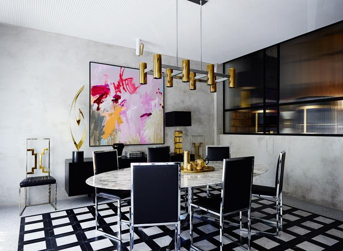 The glamorous boardroom has been designed to look like it could be in an upmarket home. The artwork is by Jo Davenport. Photo: Anson Smart