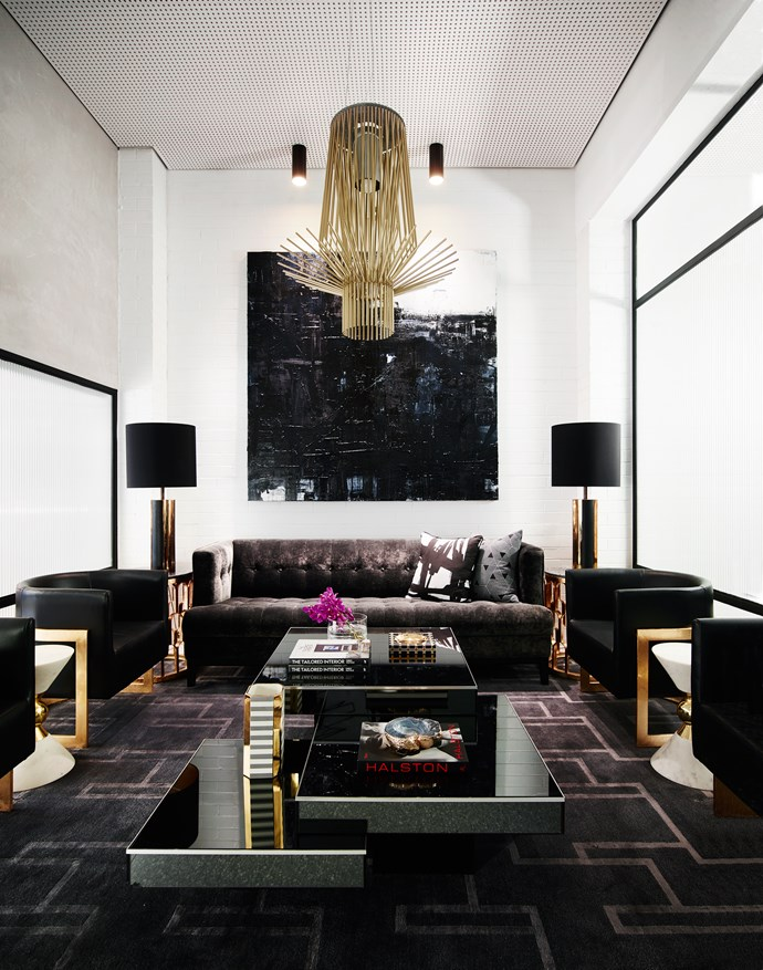 A dramatic artwork by Scott Petrie sets the tone in the reception sitting area. Photo: Anson Smart