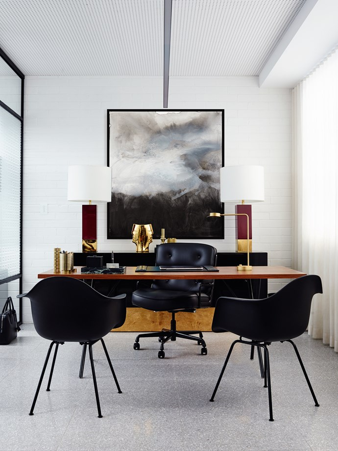 A large work by Scott Petrie makes an elegant backdrop in the designer's new office. Photo: Anson Smart