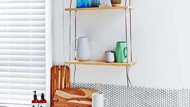 DIY leather swing shelf
