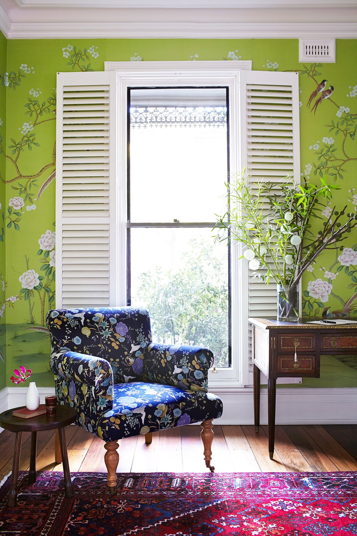 Zesty lime-green floral wallpaper plays off the traditional elements of this [Grand Victorian-era home in Melbourne](http://www.homestolove.com.au/grand-victorian-home-gets-a-colourful-personality-3642) to create a vibrant, modern feel. *Photo: Alicia Taylor / Australian House & Garden*