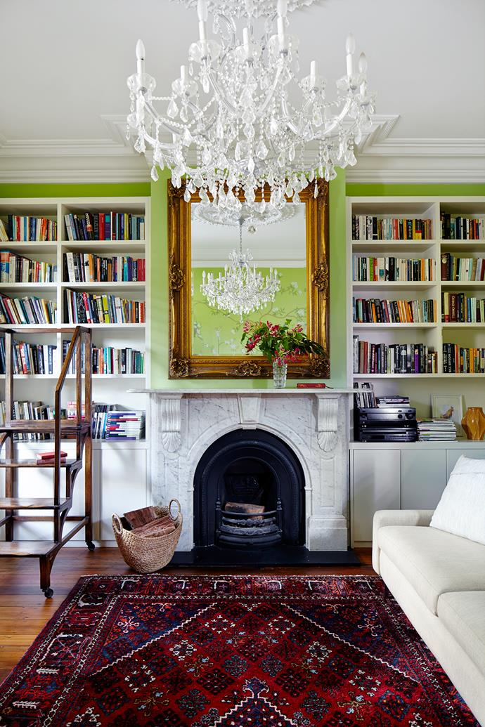 Colour-matched paint on the opposite wall means the wallpaper is not overpowering.