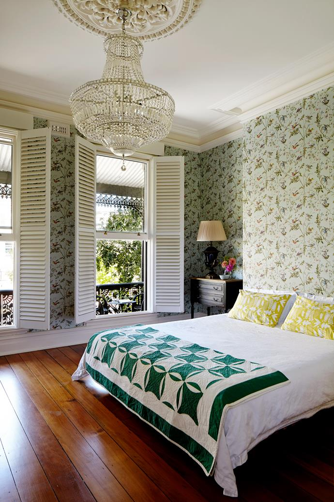 """Themes from nature combine with glamorous touches in Belinda and Alan's room. """"We love chartreuse and olive green - there is something warm and vital about these colours,"""" says Belinda."""