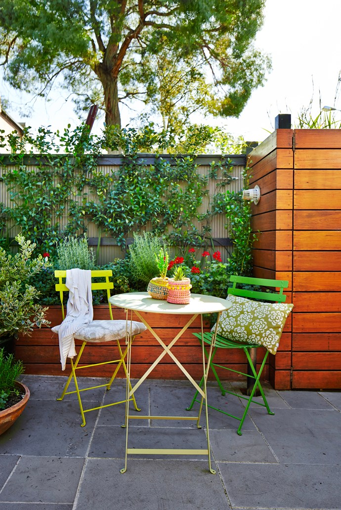 "A colourful [outdoor setting](http://www.homestolove.com.au/6-outdoor-rooms-that-get-the-balance-right-1649/?utm_campaign=supplier/|target=""_blank"") is a playful touch."