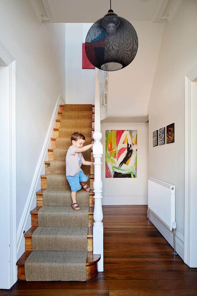 """The couple's three-year-old son puts the sisal [runner to the test](http://www.homestolove.com.au/how-to-choose-the-right-hall-runner-1506/?utm_campaign=supplier/