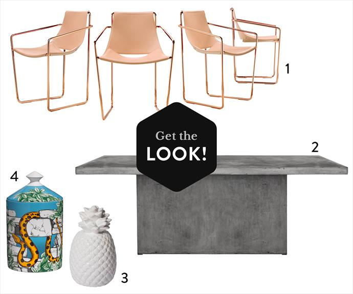 "**1.** MIDJ ""Apelle P"" side chair with copper frame, $749, [Classique](http://classique.net.au/?utm_campaign=supplier/