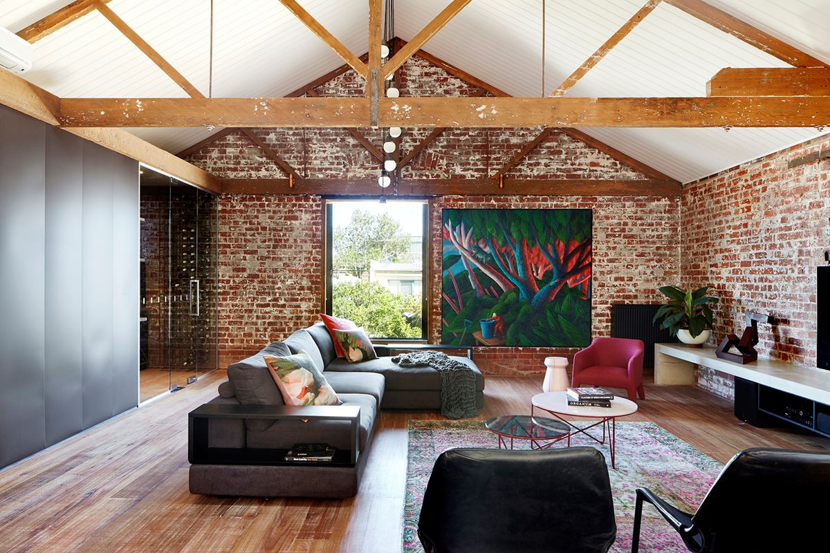 interesting brick loft interior design | Cosying Up A Melbourne Warehouse Conversion | HOMES