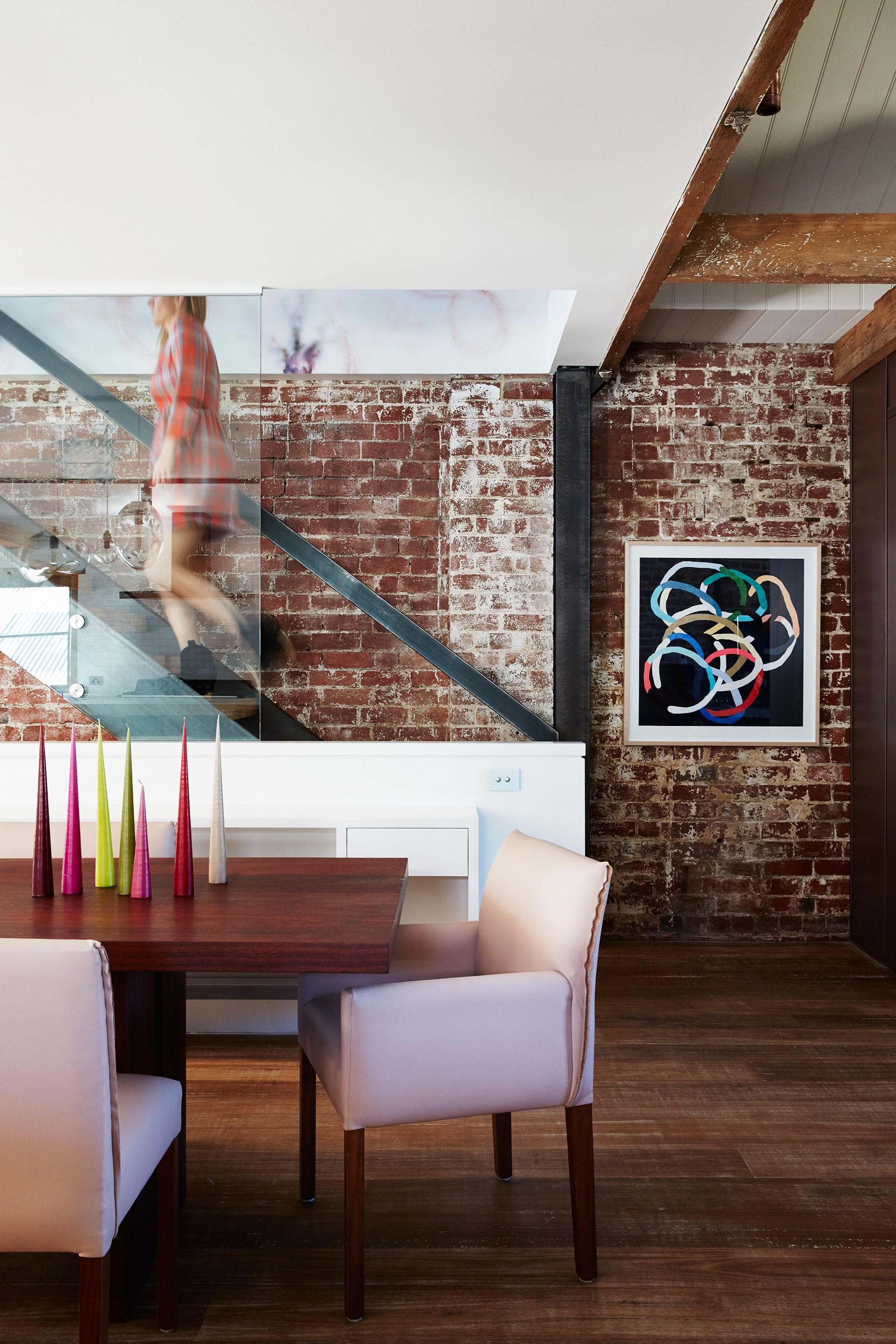"""Shades of pink soften up the interiors of this [stunning warehouse conversion](http://www.homestolove.com.au/cosying-up-a-melbourne-warehouse-conversion-3653
