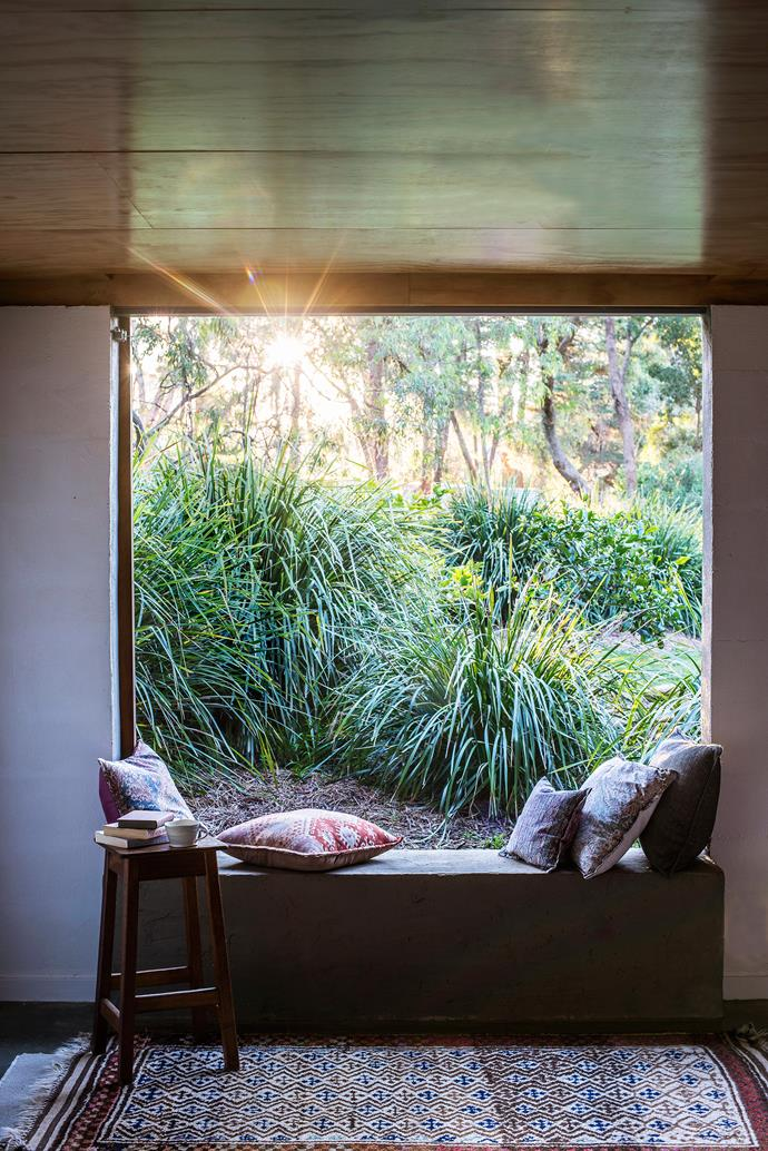 Attached to the garage, the studio is a calming space. Like the rest of the home, it's firmly rooted in the garden, where the extensive plantings of mat rush (*Lomandra longifolia*) thrive with minimal care.