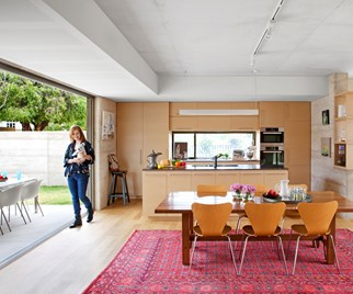 Open-plan kitchen and dining area