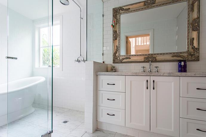 Emily picked up this mirror at a closing-down sale – it hangs over the Carrara marble bench.