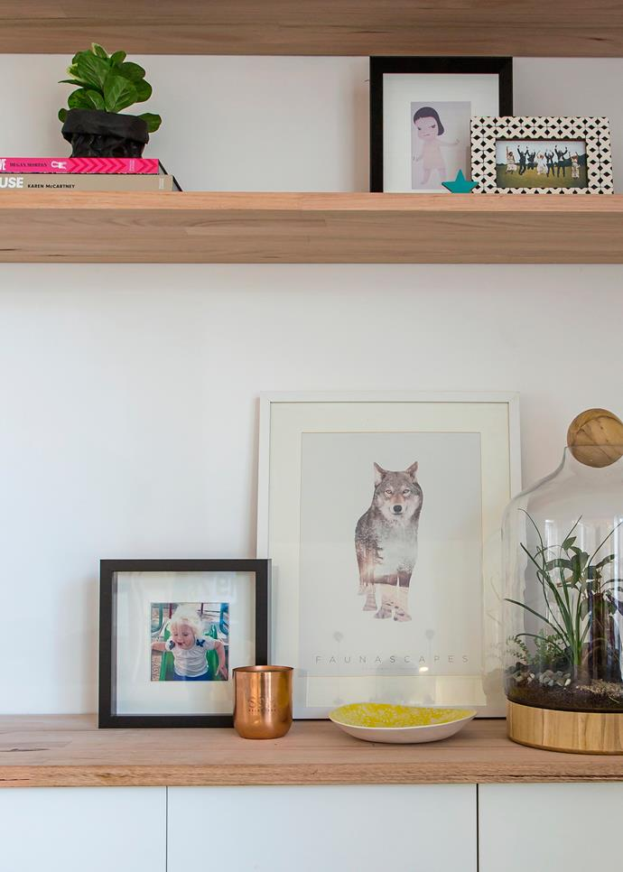 Emily likes match pretty purchases with family photos for a look that's both warm and stylish.