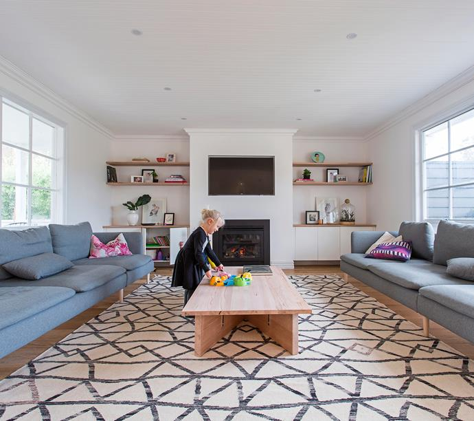 """Emily's [oversized rug](http://www.homestolove.com.au/how-to-choose-the-right-rug-1988/?utm_campaign=supplier/