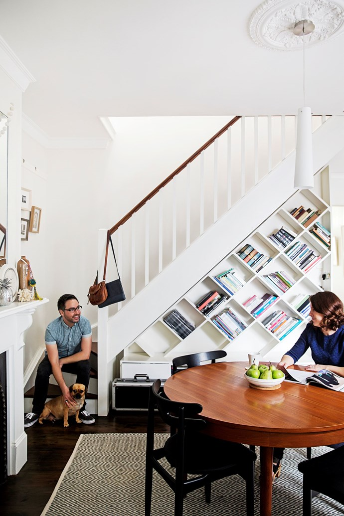 "This funky bookcase updated a [century-old terrace](http://www.homestolove.com.au/century-old-terrace-gets-a-tasteful-restoration-3396/?utm_campaign=supplier/|target=""_blank""). Photo James Henry / homes+"