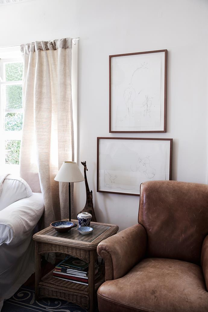 """In the sitting room, assorted treasures create a """"bit of an African theme""""."""