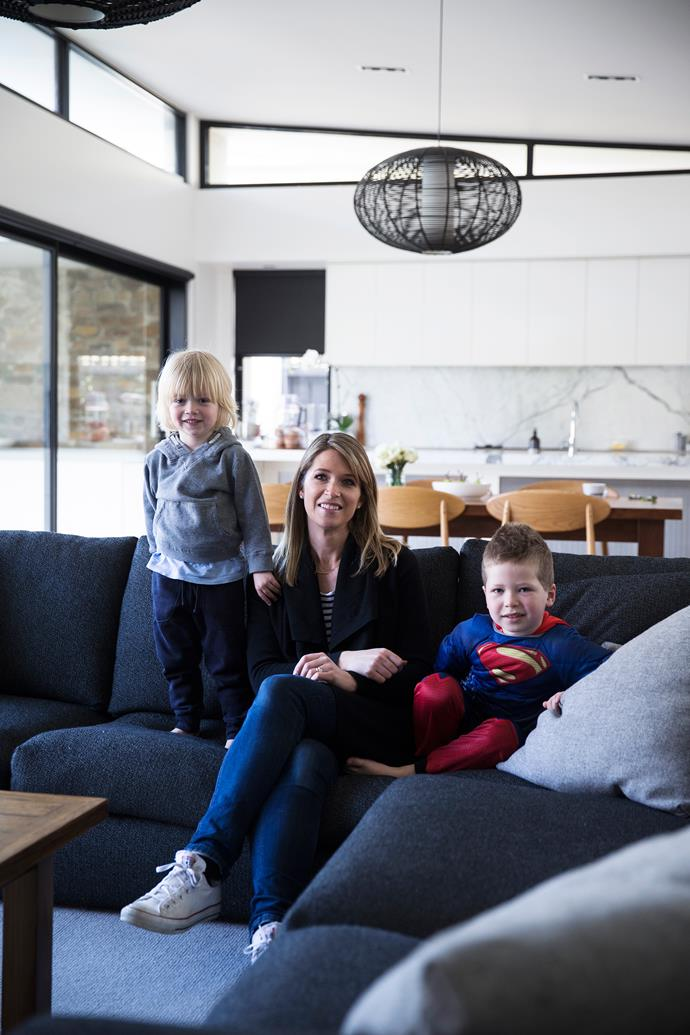 The kids love jumping around on the charcoal sofa, playing superheroes.