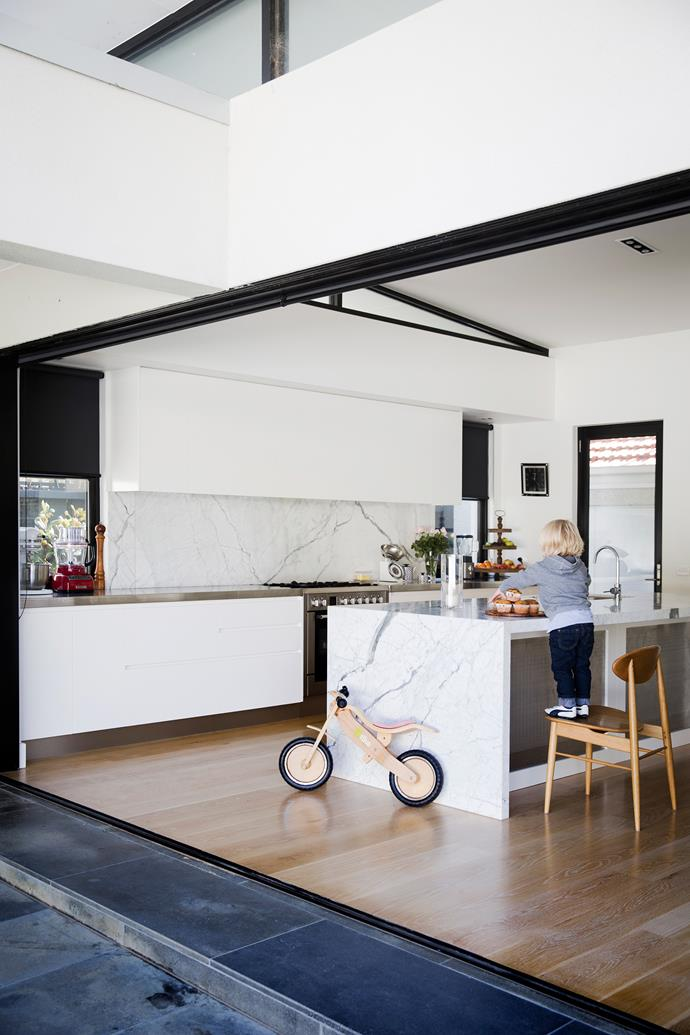 """""""Our kitchen is always the craziest, busiest part of the house – lucky it's so big!"""" says Sarah."""