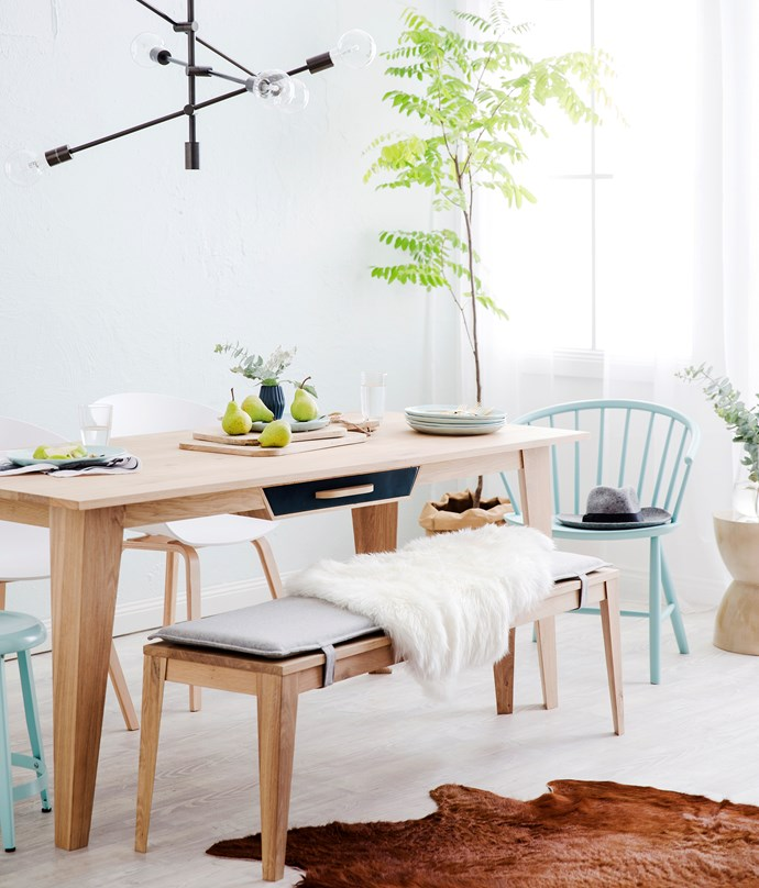 """Mr Marius Origami **dining table**, $1495, and **bench** with wool cushion, $995, from [Clickon Furniture](http://www.clickonfurniture.com.au/?utm_campaign=supplier/