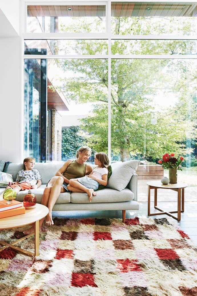Homeowner Kathleen Walters with her son Sam and daughter Amy in their light and airy living area.