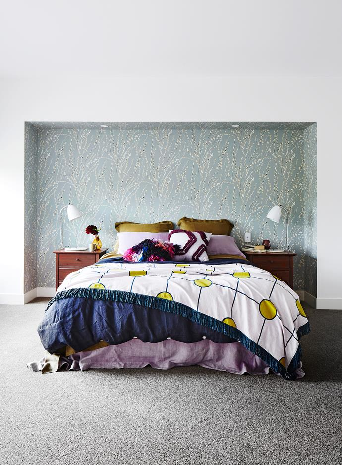 """""""We pored over so many beautiful wallpaper sample books; we were determined to create a couple of feature walls,"""" says Kathleen."""