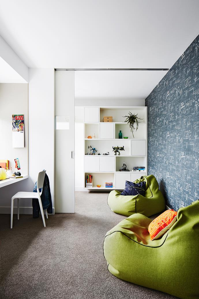 """A sliding door transforms the study into two separate rooms. """"We wanted the children to have more privacy as they get older and their needs change,"""" says Kathleen."""