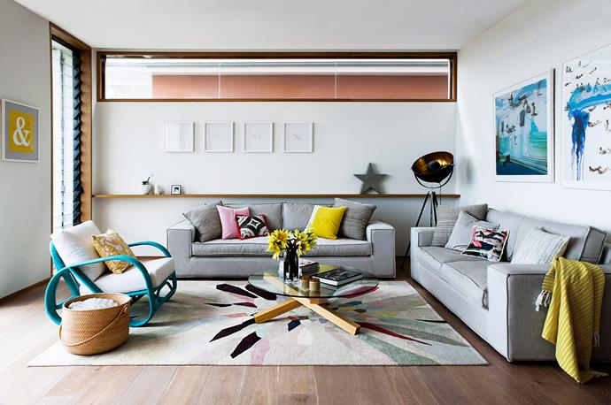 Bold hues and pastels break up the neutral palette.