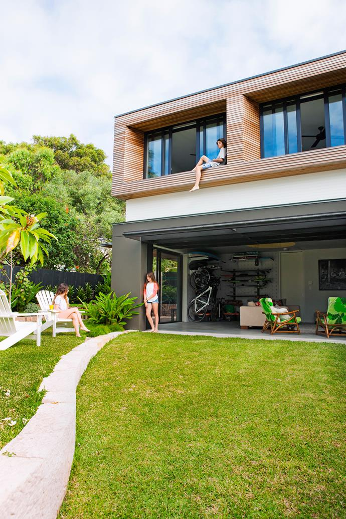 A major inclusion for the children is the freestanding pavilion in the back garden. Modelled on a garage, down to the tilt-up door, it features a large living area, plus bedrooms upstairs for teenagers Taylor and Matthew, and serves as a storage area for bicycles and surfboards.
